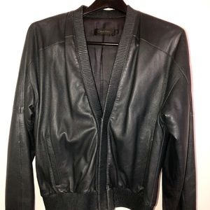 Calvin Klein Collection Leather Bomber Jacket.